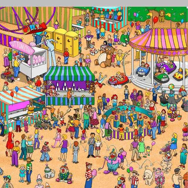 Найди Уолли на ярмарке!